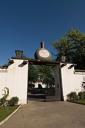 Chile Wine Country: Gate of Undurraga Winery near Santiago, with wine bottle motif..Photo #: ch405-33872..Photo copyright Lee Foster, 510-549-2202, www.fostertravel.com, lee@fostertravel.com.