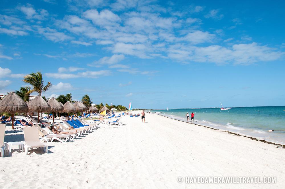 The white sandy beach at Excellence Playa Mujeres Resort at Playa Mujeres, north of Cancun, Quintana Roo, Mexico