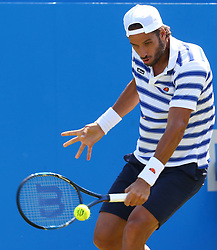 June 20, 2017 - London, United Kingdom - Feliciano Lopez  (ESP)   against Stan Wawrinka  (SUI)  during Round One match on the second day of the ATP Aegon Championships at the Queen's Club in west London on June 20, 2017  (Credit Image: © Kieran Galvin/NurPhoto via ZUMA Press)