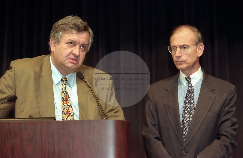 Edgar Bronfman, Sr., with US Under Secretary of State Stuart Eizenstat at the opening ceremony for the Conference on Holocaust-Era Assets at the US Holocaust Museum November 30, 1998 in Washington, DC.