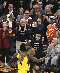 April 29, 2018 - Cleveland, OH, USA - Cleveland Cavaliers' LeBron James hugs Indiana Pacers' Victor Oladipo after the Cavaliers' 105-101 victory in Game 7 of the Eastern Conference First Round series on Sunday, April 29, 2018 at Quicken Loans Arena in Cleveland, Ohio. (Credit Image: © Phil Masturzo/TNS via ZUMA Wire)