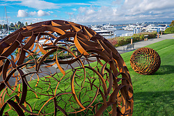 United States, Washington, Kirkland, Public Art at Carillon Point Office Park and Marina