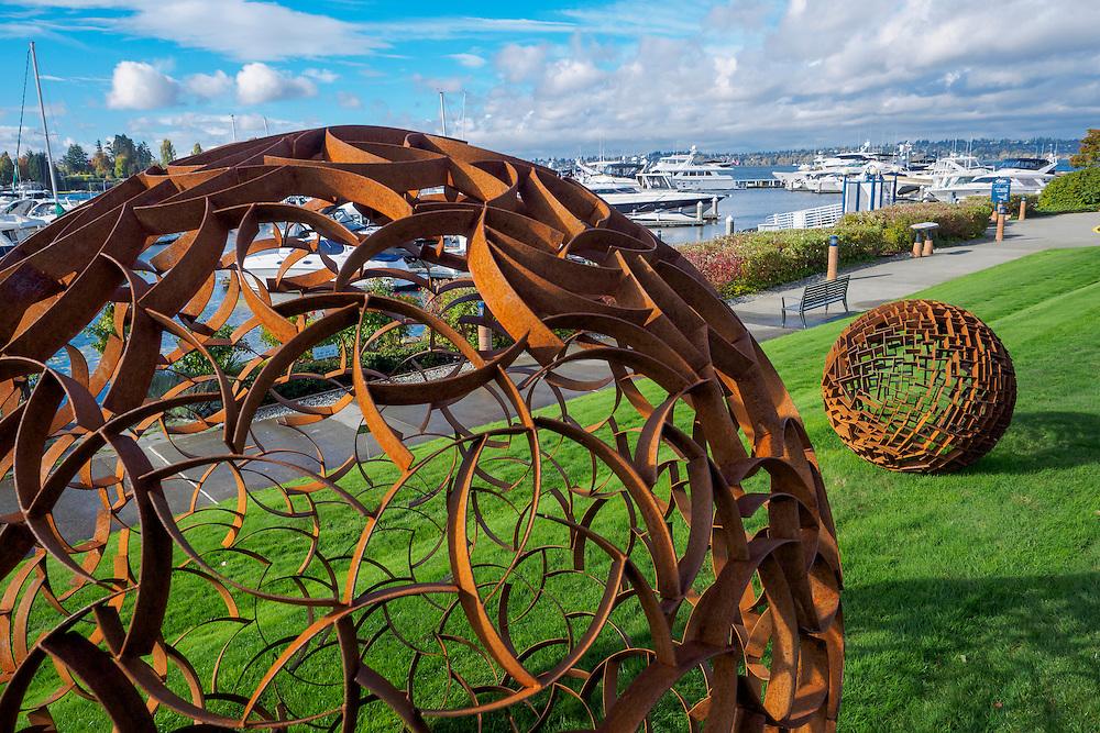 United States, Washington, Kirkland, Public Art at Carillon Point Office Park and Marina