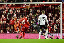 Liverpool's Mario Balotelli scores the winning goal 3-2 - Photo mandatory by-line: Matt McNulty/JMP - Mobile: 07966 386802 - 10/02/2015 - SPORT - Football - Liverpool - Anfield - Liverpool v Tottenham Hotspur - Barclays Premier League