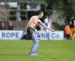 A Bristol Rovers Fan comes on to the pitch during the game - Photo mandatory by-line: Joe Meredith/JMP - Mobile: 07966 386802 03/05/2014 - SPORT - FOOTBALL - Bristol - Memorial Stadium - Bristol Rovers v Mansfield - Sky Bet League Two