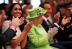 Queen Elizabeth II and the Duchess of Sussex, visit the Storyhouse in Chester.