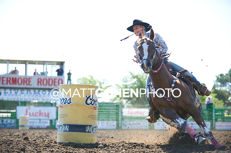 Barrel racer  competes at the Livermore Rodeo in Livermore, CA  Barrel racer Kelley Carrington of Boston, GA competes at the Livermore Rodeo in Livermore, CA<br /> <br /> <br /> UNEDITED LOW-RES PREVIEW<br /> <br /> <br /> File shown may be an unedited low resolution version used as a proof only. All prints are 100% guaranteed for quality. Sizes 8x10+ come with a version for personal social media. I am currently not selling downloads for commercial/brand use.