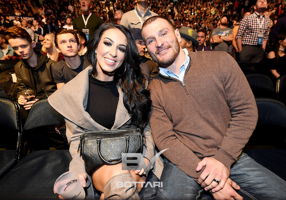 NEW YORK, NY - NOVEMBER 12:  Ryan Marie Carney and UFC fighter Stipe Miocic are seen during the UFC 205 event at Madison Square Garden on November 12, 2016 in New York City.  (Photo by Jeff Bottari/Zuffa LLC/Zuffa LLC via Getty Images)