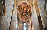 """picture & image of the interior and frescoes of the Samtavisi Georgian Orthodox Cathedral, 11th century, Shida Karti Region, Georgia (country)<br /> <br /> Built during the so called 10-11th century """"Georgian Golden Era"""" Samtavisi cathedral is a built in classical Georgian style of the period. Layout on a cruciform ground plan with a high central cylindrical central cupola. .<br /> <br /> Visit our MEDIEVAL PHOTO COLLECTIONS for more   photos  to download or buy as prints https://funkystock.photoshelter.com/gallery-collection/Medieval-Middle-Ages-Historic-Places-Arcaeological-Sites-Pictures-Images-of/C0000B5ZA54_WD0s<br /> <br /> Visit our REPUBLIC of GEORGIA HISTORIC PLACES PHOTO COLLECTIONS for more photos to browse, download or buy as wall art prints https://funkystock.photoshelter.com/gallery-collection/Pictures-Images-of-Georgia-Country-Historic-Landmark-Places-Museum-Antiquities/C0000c1oD9eVkh9c"""