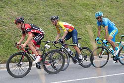 07.07.2017, St. Johann Alpendorf, AUT, Ö-Tour, Österreich Radrundfahrt 2017, 5. Etappe von Kitzbühel nach St. Johann/Alpendorf (212,5 km), im Bild v.l. Hermann Pernsteiner (AUT, Team Amplatz - BMC), Stefan Denifl (AUT, Team Aqua Blue Sport) im gelben Trikot // f.l. Hermann Pernsteiner of Austria (Amplatz BMC) and Stefan Denifl of Austria (Aqua Blue Sport) in the yellow jersey during the 5th stage from Kitzbuehel to St. Johann/Alpendorf (212,5 km) of 2017 Tour of Austria. St. Johann Alpendorf, Austria on 2017/07/07. EXPA Pictures © 2017, PhotoCredit: EXPA/ Reinhard Eisenbauer