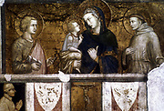 Virgin and Child with St Francis and St John the Evangelist: 1320-25.  Pietro Lorenzetti (c1280-1248). Fresco, Lower Church, San Francesco, Assisi.