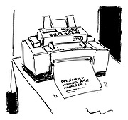 (Fax machine receiving a fax that reads 'Oh sorry wrong fax number!')