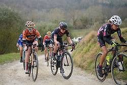 Alena Amialiusik (CANYON//SRAM Racing) climbs the penultimate gravel sector at Strade Bianche - Elite Women. A 127 km road race on March 4th 2017, starting and finishing in Siena, Italy. (Photo by Sean Robinson/Velofocus)