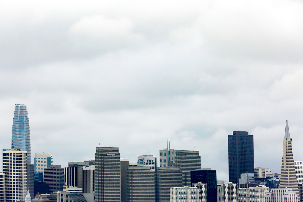 Salesforce Tower and the Transamerica Pyramid on a cloudy morning following overnight rain on Thursday, Jan. 31, 2019, in San Francisco, Calif.