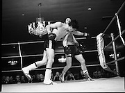 Nash vs Leon Championship Fight.    (N55)..1980..14.12.1980..12.14.1980..14th December 1980..At the Burlington Hotel, Dublin, Charlie Nash defended his European Lightweight Title when he took on Spain's Francesco Leon. .Picture shows Leon reeling after a right cross from Nash.