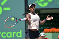 March 29, 2018 - Key Biscayne, FL, U.S. - KEY BISCAYNE, FL - MARCH 29: Sloane Stephens (USA) in action during day 11 of the 2018 Miami Open at Crandon Park Tennis Center on March 29, 2018, in Key Biscayne, FL. (Photo by Andrew Patron/Icon Sportswire) (Credit Image: © Andrew Patron/Icon SMI via ZUMA Press)