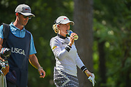 Sarah Jane Smith (AUS) rehydrates as she heads down 2 during round 3 of the U.S. Women's Open Championship, Shoal Creek Country Club, at Birmingham, Alabama, USA. 6/2/2018.<br /> Picture: Golffile | Ken Murray<br /> <br /> All photo usage must carry mandatory copyright credit (© Golffile | Ken Murray)