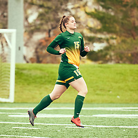 1st year defender, Abby Kirk (15) of the Regina Cougars during the Women's Soccer home game on Sun Sep 23 at U of R Field. Credit: Arthur Ward/Arthur Images