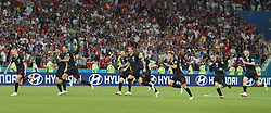 SOCHI, July 7, 2018  Players of Croatia celebrate victory after the 2018 FIFA World Cup quarter-final match between Russia and Croatia in Sochi, Russia, July 7, 2018. Croatia won 6-5 (4-3 in penalty shootout) and advanced to the semi-finals. (Credit Image: © Cao Can/Xinhua via ZUMA Wire)