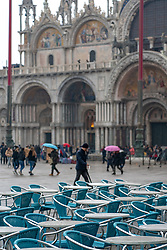 A view of St Mark's square during bad weather in Venice. From a series of travel photos in Italy. Photo date: Sunday, February 10, 2019. Photo credit should read: Richard Gray/EMPICS