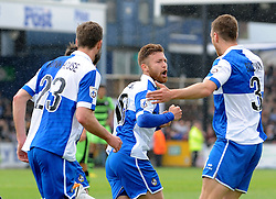 Bristol Rovers' Matty Taylor celebrates with Bristol Rovers' Andy Monkhouse and Bristol Rovers' Lee Brown - Photo mandatory by-line: Neil Brookman/JMP - Mobile: 07966 386802 - 03/05/2015 - SPORT - Football - Bristol - Memorial Stadium - Bristol Rovers v Forest Green Rovers - Vanarama Football Conference