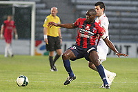 FOOTBALL - FRENCH CHAMPIONSHIP 2011/2012 - CLERMONT FOOT v CS SEDAN  - 4/05/2015 - PHOTO EDDY LEMAISTRE / DPPI - YOANN COURT (SEDAN) AND EUGENE EKOBO (CFA)