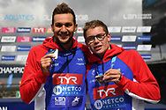 Axel Reymond (FRA) Silver medal and Logan Fontaine (FRA) Bronze medal on Men's 5 kms Open Water during the Swimming European Championships Glasgow 2018, at Tollcross International Swimming Centre, in Glasgow, Great Britain, Day 7, on August 8, 2018 - Photo Stephane Kempinaire / KMSP / ProSportsImages / DPPI