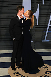 Darren Le Gallo (L) and actress Amy Adams walking on the red carpet at the 2018 Vanity Fair Oscar Party hosted by Radhika Jones held at the Wallis Annenberg Center for the Performing Arts in Beverly Hills on March 4, 2018. (Photo by JC Olivera/Sipa USA)