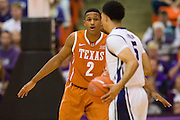 FORT WORTH, TX - JANUARY 19: Demarcus Holland #2 of the Texas Longhorns defends against the TCU Horned Frogs on January 19, 2015 at Wilkerson-Greines AC in Fort Worth, Texas.  (Photo by Cooper Neill/Getty Images) *** Local Caption *** Demarcus Holland