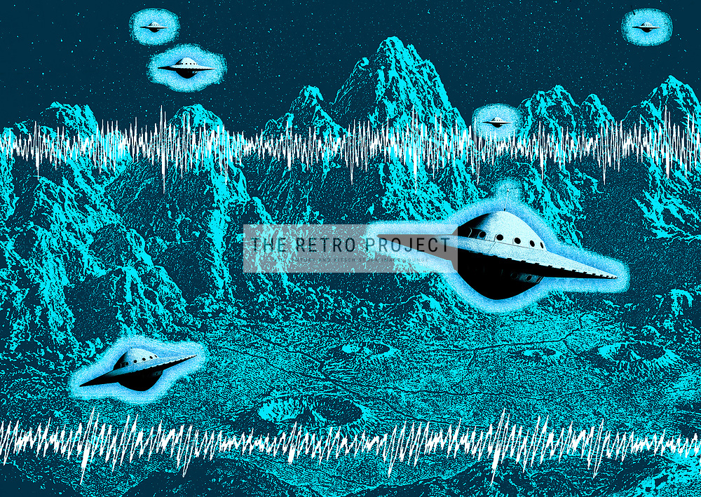 Retro fifties flying saucers UFO's hovering over blue mountainous alien planet with sound waves overlayed