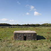 Type 24 pillbox by the River Parrett, part of the The Taunton Stop Line, a World War II defensive line in south west England. Bridgwater, Somerset.