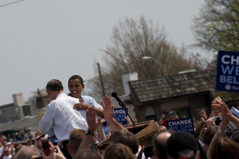 Senator Barack Obama embraces Senator Bob Casey on stage at a campaign in Paoli, Pennsylvania.