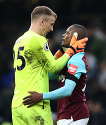 West Ham United goalkeeper Joe Hart (left) and Patrice Evra celebrate after the final whistle