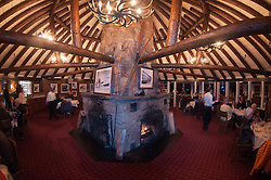 The Roundhouse, the first day lodge for the Sun Valley Ski Resort in 1939 and now a restaurant, is perched at 7,700 feet elevation slopeside on Bald Mountain at Sun Valley, Idaho, US.