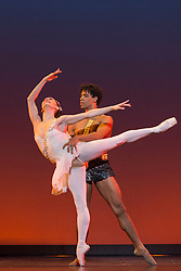 © Licensed to London News Pictures. 08/12/2015. London, UK. Pictured: Diana & Acteon by Agrippino Vaganova performed by Carlos Acosta and Marianela Nunez. Carlos Acosta performs a Classical Selection at the London Coliseum, 8 to 13 December 2015, presenting highlights from Carlos' career in celebration of twenty-six years as a dancer on the London stage. Photo credit: Bettina Strenske/LNP