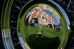 © Licensed to London News Pictures. 05/09/2013. London, UK. St James's Palace and classic cars are seen reflected in the hubcap of a Horch 853 Voll and Ruhrbeck Sport Cabriolet at the St James's Concours of Elegance classic car event at Royal Gardens of St James's Palace in London today (05/09/2013). The event, which alternates each year between Windsor Castle and St James's Palace, features sixty rare cars from across the world and takes place over the next three days. Photo credit: Matt Cetti-Roberts/LNP