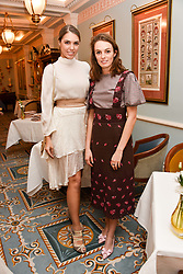 Left to right, Amber Le Bon and Lady Violet Manners at an afternoon tea in honour of Megan Hess hosted by Lady Violet Manners at The Lanesborough, Hyde Park Corner, London, England. 10 November 2017.