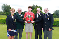 Mark McKinstry (Cairndhu) winner of the Connacht Boys U18 Open, Pictured with Lady Captain Marie McManus, GUI President Michael Connaughton, Connacht Branch Chairman Jim McGovern and Club President Cathal McConn, Roscommon Golf Club, Roscommon, Co Roscommon.<br /> Picture: Golffile \ Fran Caffrey