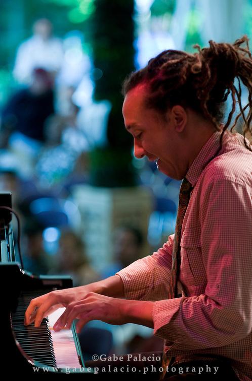 Gerald Clayton, piano, performing in the Jazz Festival at Caramoor in Katonah New York.photo by Gabe Palacio