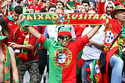 Portuguese supporters before the beginning of the match. Portugal won the Euro Cup beating in the final home team France at Saint Denis stadium in Paris, after winning on extra-time by 1-0.