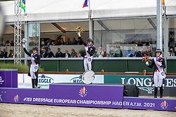 Von Bredow-Werndl Jessica, GER, Dufour Catherine, DEN, Dujardin Charlotte, GBR<br /> European Championship Dressage - Hagen 2021<br /> © Hippo Foto - Dirk Caremans<br /> 11/09/2021