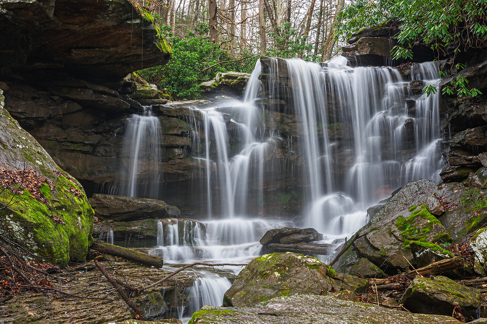 Hidden above one of West Virginia's most popular waterfall, Cathedral Falls, lies another set of falls intricately overlaying the many notches and nodes created by the patterned arrangement of boulders.