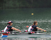 Bled, SLOVENIA,  USA LW2X, Semi finals, Bow Abelyn BROUGHTON and Ursula GROBLER, winning the semi final, in the women's lightweight double sculls at the  FISA World Cup, Bled. Held on Lake Bled.  Saturday  29/05/2010  [Mandatory Credit Peter Spurrier/ Intersport Images].Crew