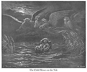 The Child Moses on the Nile Exodus 2:3 From the book 'Bible Gallery' Illustrated by Gustave Dore with Memoir of Doré and Descriptive Letter-press by Talbot W. Chambers D.D. Published by Cassell & Company Limited in London and simultaneously by Mame in Tours, France in 1866