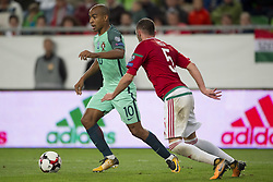 September 3, 2017 - Budapest, Hungary - Joao Mario of Portugal and Atilla Fiola of Hungary during the FIFA World Cup 2018 Qualifying Round match between Hungary and Portugal at Groupama Arena in Budapest, Hungary on September 3, 2017  (Credit Image: © Andrew Surma/NurPhoto via ZUMA Press)