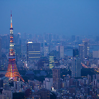 A spectacular view of the Tokyo Tower from the top of Roppongi Hills. Opened in 1958, it was the tallest free standing tower in the world, slightly higher then the Eiffel Tower, from which it's classical design is based. It was also the tallest artificial structure in Japan until 2010 when the Tokyo Skytree opened.