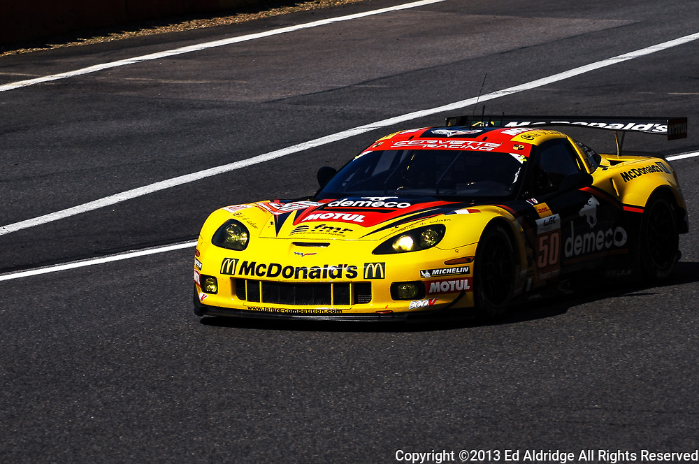 Spa-Francorchamps, Belgium - MAY 4, 2013: Julien Canal, Patrick Bornhauser and Fernando Rees driving the Larbre Competition Chevrolet Corvette C6.R during the FIA World Endurance Championship 6 Hours of Spa-Francorchamps.