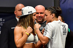 "Nov 12, 2016 - New York, New York, U.S. - Miesha ""Cupcake"" Tate and Raquel ""Rocky"" Pennington during weigh-in at UFC 205 in Madison Square Garden. (Credit Image: ? Jason Silva/ZUMA Wire/ZUMAPRESS.com)"