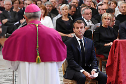 France's President Emmanuel Macron is inducted as honorary canon of The Basilica of St.John's (San Giovanni in Laterano) in Rome,Italy the Pope's cathedral in his capacity as bishop of the Italian capital on June 26, 2018. Emmanuel Macron is accompanied by his wife Brigitte (right). The french head of state has traditionally been given the title since French kings made large donations to support the cathedral in the 15th century. Photo by Eric Vandeville/ABACAPRESS.COM