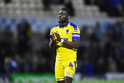 Deji Oshilaja (4) of AFC Wimbledon applauds the travelling fans at full time after Wimbledon lost 2-0 to Bristol Rovers during the EFL Sky Bet League 1 match between Bristol Rovers and AFC Wimbledon at the Memorial Stadium, Bristol, England on 23 October 2018.